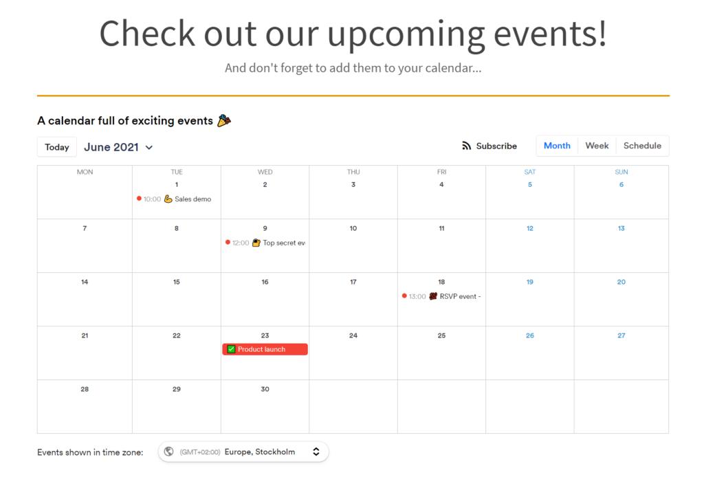 calendar jimdo website